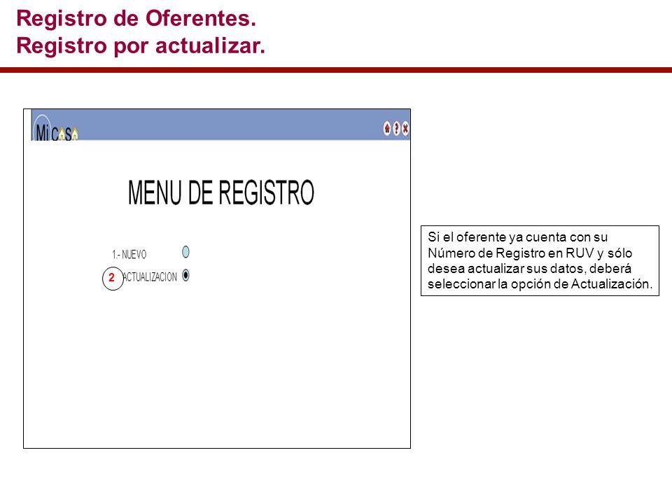 Si el oferente ya cuenta con su Número de Registro en RUV y sólo desea actualizar sus datos, deberá seleccionar la opción de Actualización.