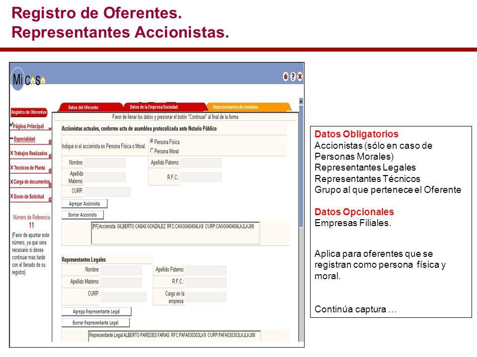 Datos Obligatorios Accionistas (sólo en caso de Personas Morales) Representantes Legales Representantes Técnicos Grupo al que pertenece el Oferente Datos Opcionales Empresas Filiales.