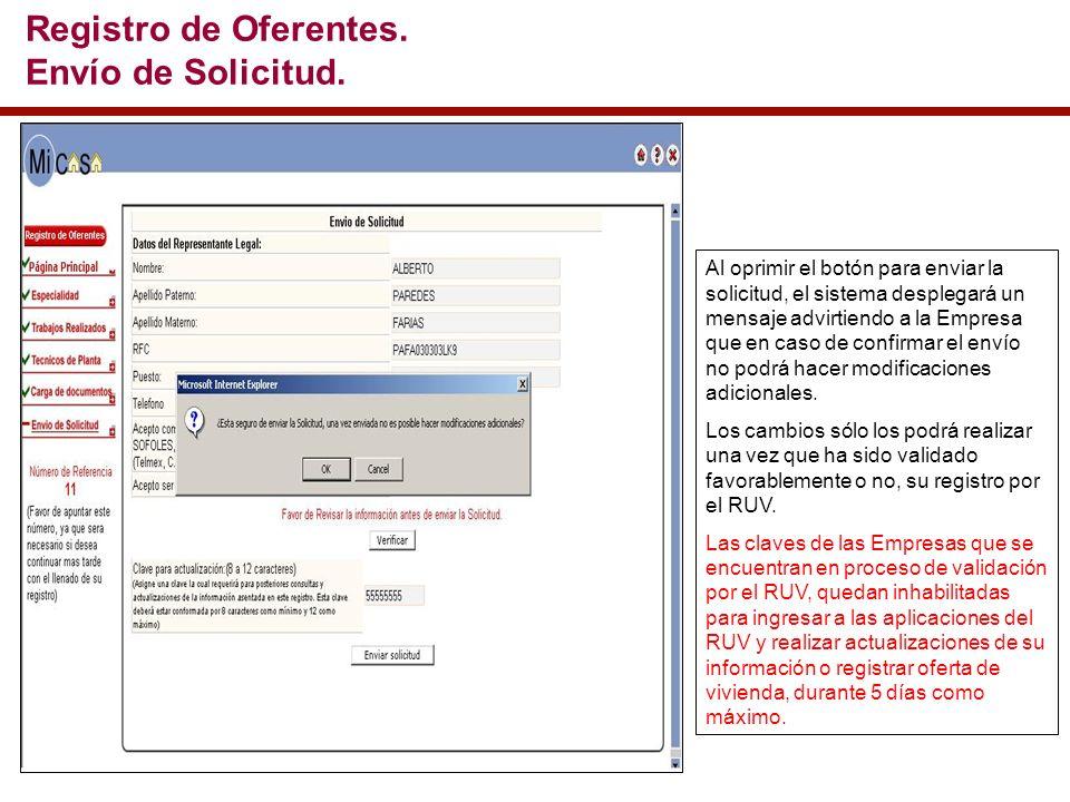 Al oprimir el botón para enviar la solicitud, el sistema desplegará un mensaje advirtiendo a la Empresa que en caso de confirmar el envío no podrá hacer modificaciones adicionales.