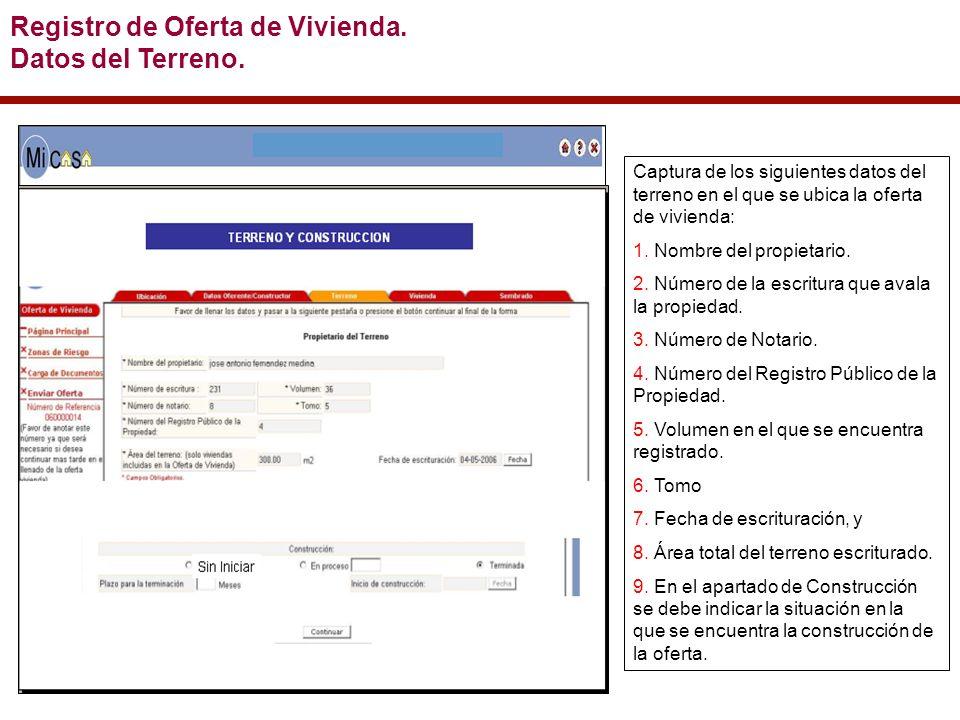 Registro de Oferta de Vivienda. Datos del Terreno.