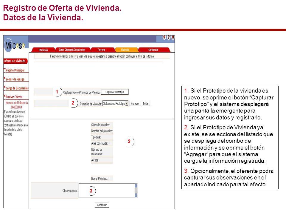 Registro de Oferta de Vivienda. Datos de la Vivienda.