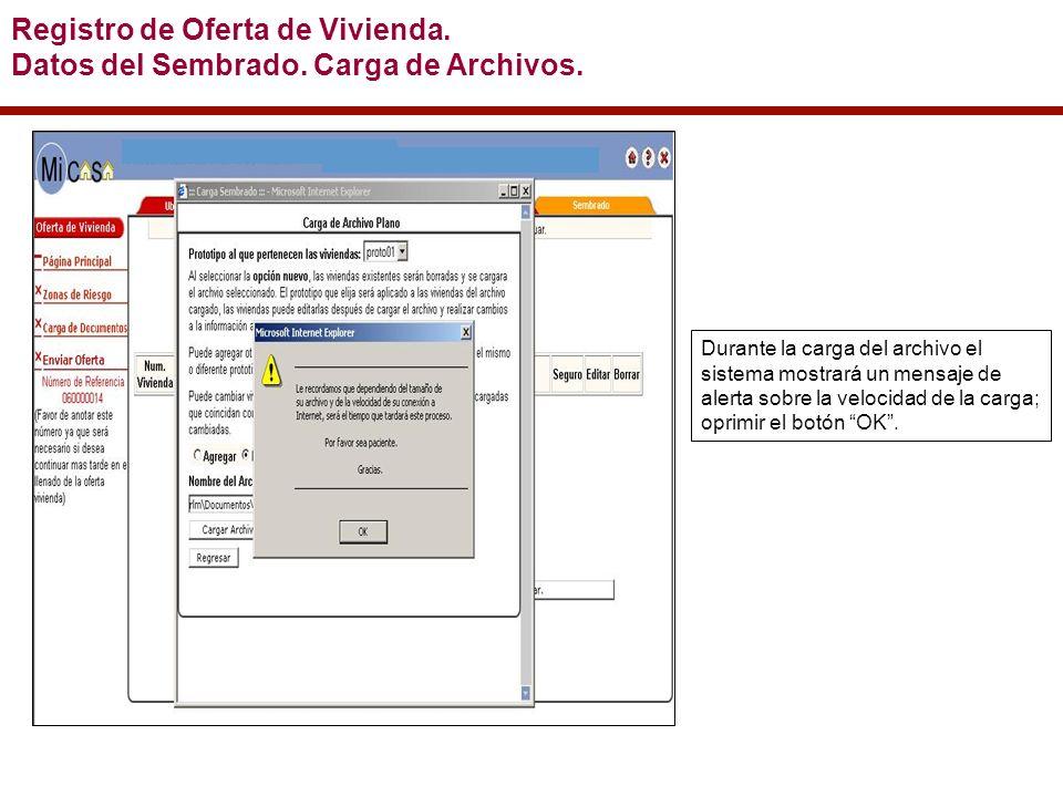 Durante la carga del archivo el sistema mostrará un mensaje de alerta sobre la velocidad de la carga; oprimir el botón OK.