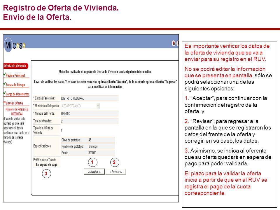 Es importante verificar los datos de la oferta de vivienda que se va a enviar para su registro en el RUV.