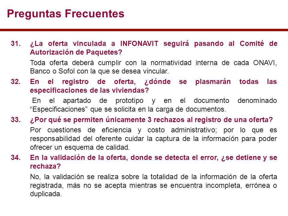 Preguntas Frecuentes 31.¿La oferta vinculada a INFONAVIT seguirá pasando al Comité de Autorización de Paquetes.