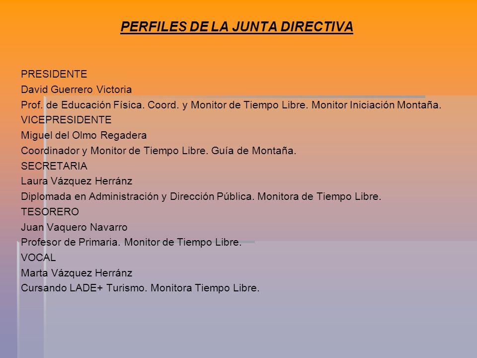 PERFILES DE LA JUNTA DIRECTIVA PRESIDENTE David Guerrero Victoria Prof.