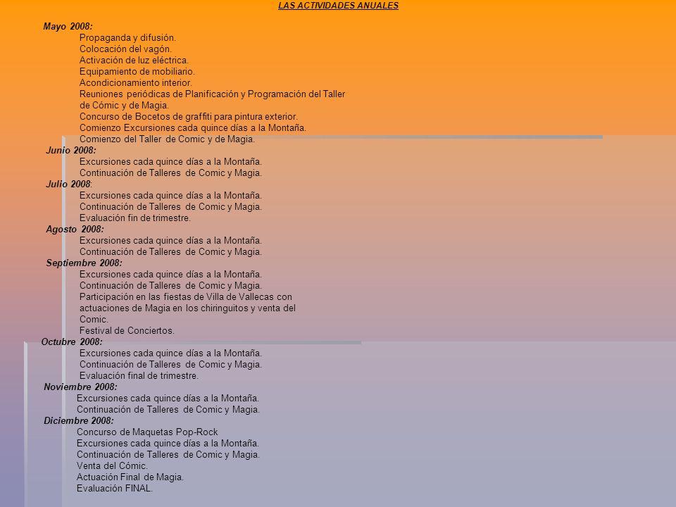 LAS ACTIVIDADES ANUALES Mayo 2008: Propaganda y difusión.