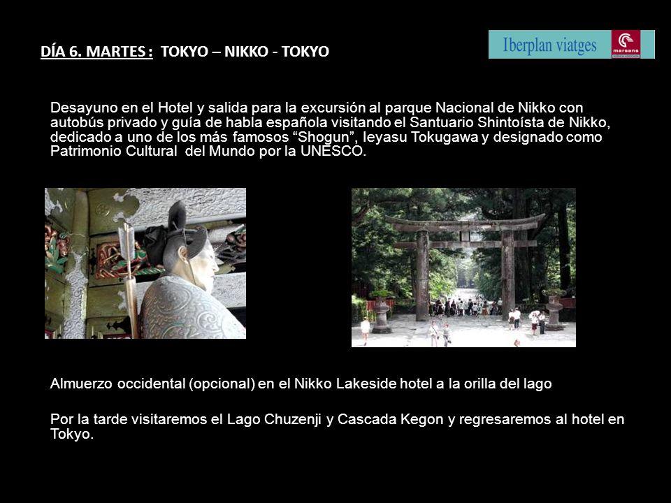 Desayuno en el Hotel y salida para la excursión al parque Nacional de Nikko con autobús privado y guía de habla española visitando el Santuario Shinto