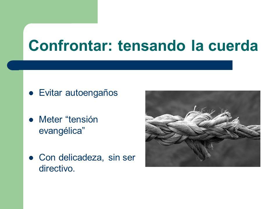 Confrontar: tensando la cuerda Evitar autoengaños Meter tensión evangélica Con delicadeza, sin ser directivo.