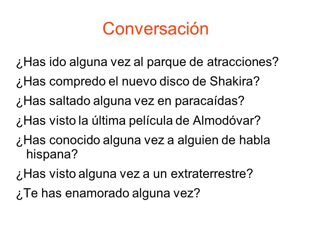 Conversación ¿Has ido alguna vez al parque de atracciones.