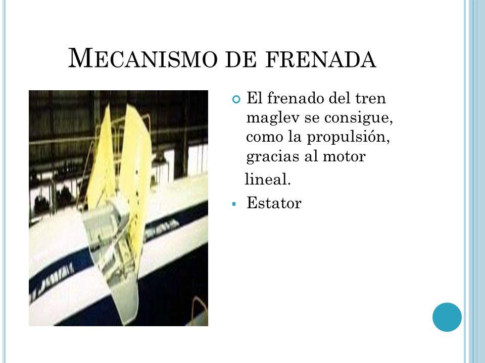 M ECANISMO DE FRENADA El frenado del tren maglev se consigue, como la propulsión, gracias al motor lineal. Estator