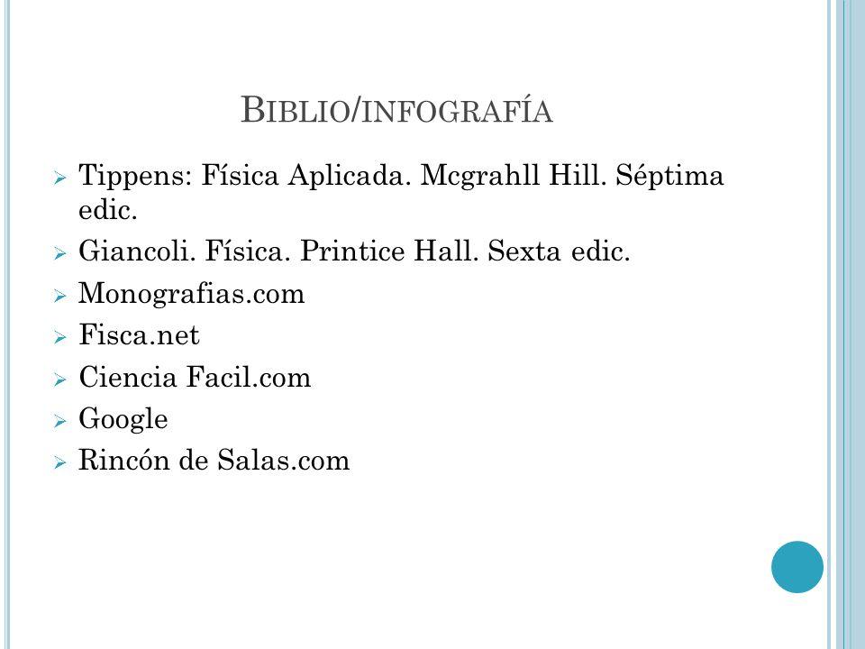 B IBLIO / INFOGRAFÍA Tippens: Física Aplicada. Mcgrahll Hill. Séptima edic. Giancoli. Física. Printice Hall. Sexta edic. Monografias.com Fisca.net Cie