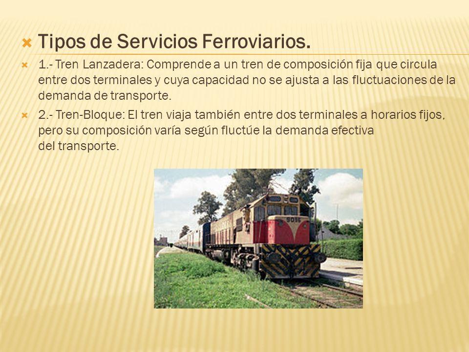 Tipos de Servicios Ferroviarios. 1.- Tren Lanzadera: Comprende a un tren de composición fija que circula entre dos terminales y cuya capacidad no se a