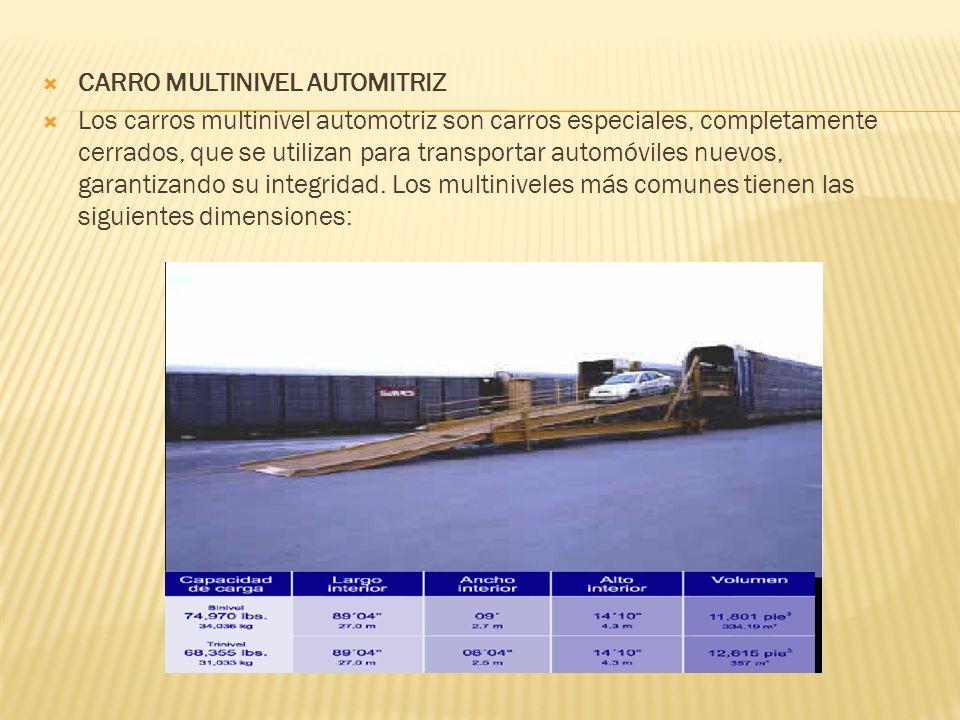 CARRO MULTINIVEL AUTOMITRIZ Los carros multinivel automotriz son carros especiales, completamente cerrados, que se utilizan para transportar automóvil