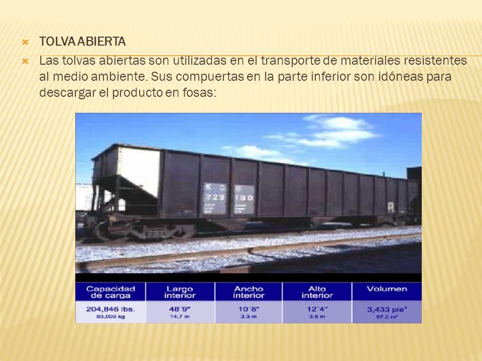 TOLVA ABIERTA Las tolvas abiertas son utilizadas en el transporte de materiales resistentes al medio ambiente. Sus compuertas en la parte inferior son