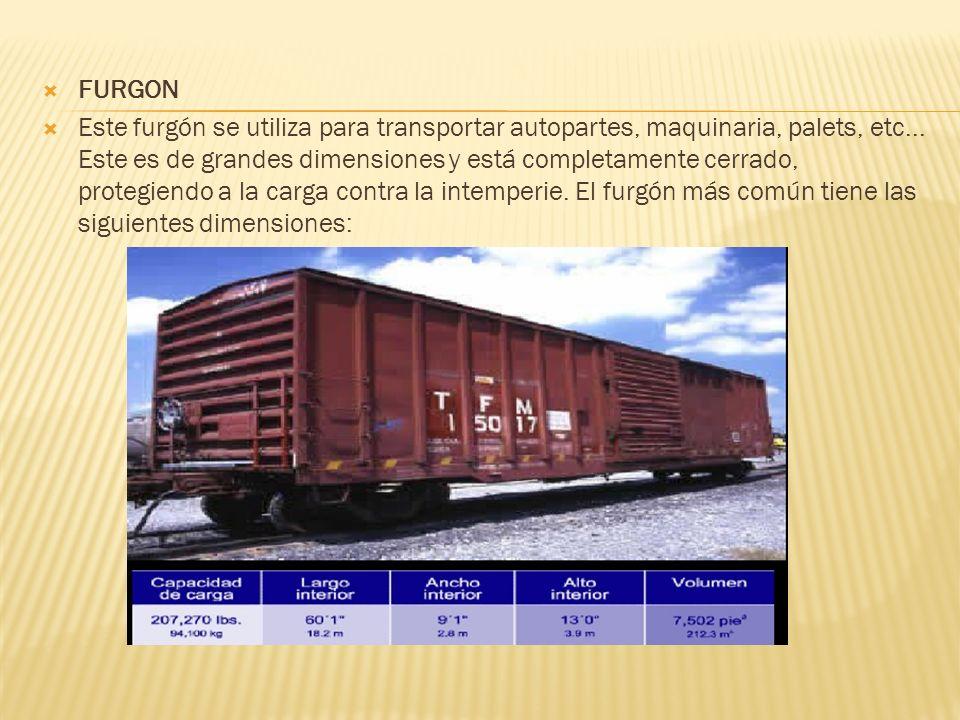 FURGON Este furgón se utiliza para transportar autopartes, maquinaria, palets, etc... Este es de grandes dimensiones y está completamente cerrado, pro