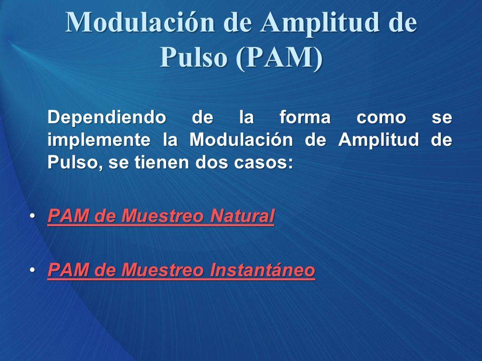 Dependiendo de la forma como se implemente la Modulación de Amplitud de Pulso, se tienen dos casos: PAM de Muestreo NaturalPAM de Muestreo NaturalPAM