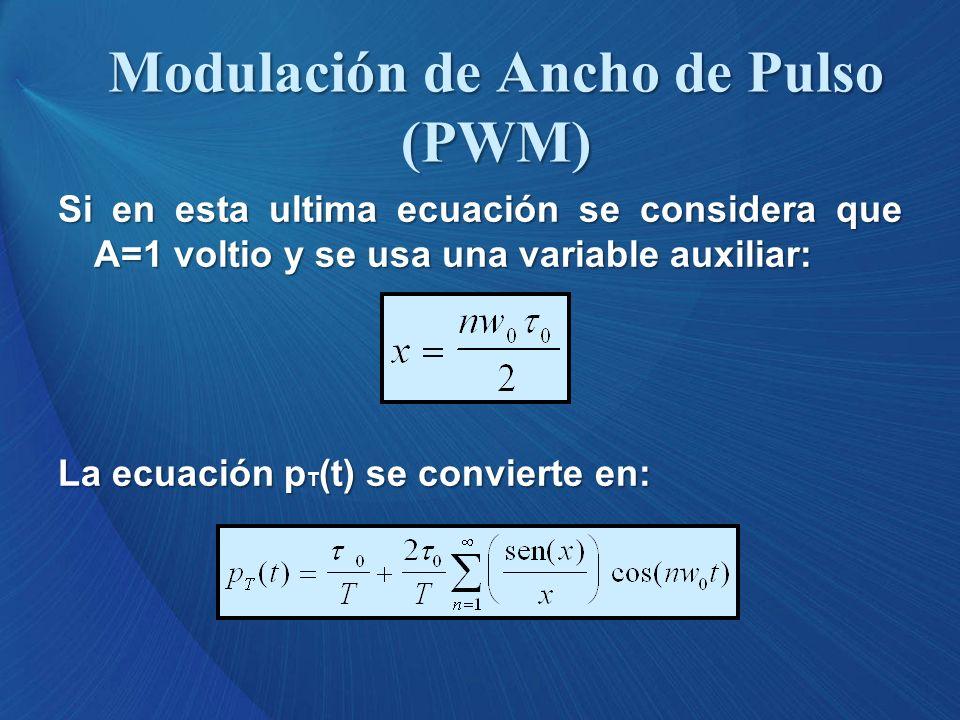 Si en esta ultima ecuación se considera que A=1 voltio y se usa una variable auxiliar: La ecuación p T (t) se convierte en: Modulación de Ancho de Pul