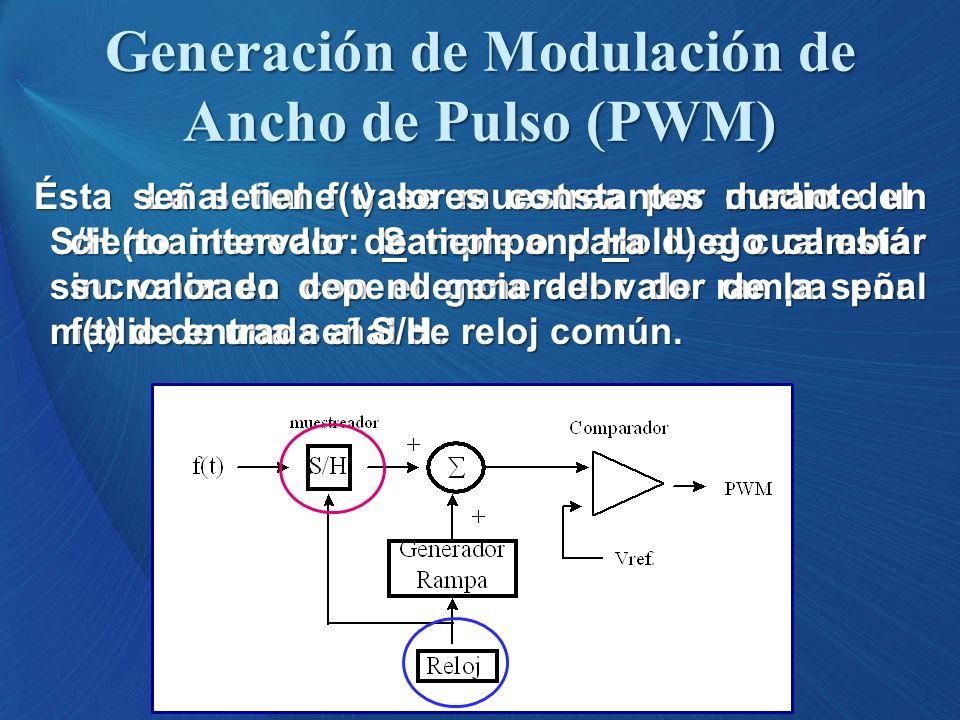 La señal f(t) se muestrea por medio del S/H (mantenedor: Sample and Hold) el cual está sincronizado con el generador de rampa por medio de una señal d