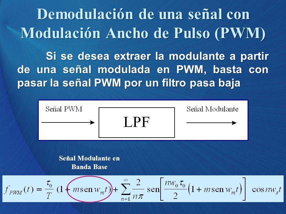 Si se desea extraer la modulante a partir de una señal modulada en PWM, basta con pasar la señal PWM por un filtro pasa baja Demodulación de una señal