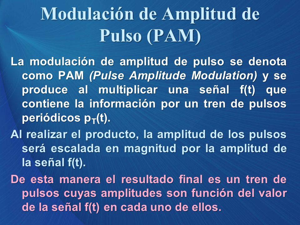 Modulación de Amplitud de Pulso (PAM) La modulación de amplitud de pulso se denota como PAM (Pulse Amplitude Modulation) y se produce al multiplicar u