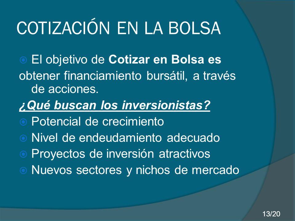 COTIZACIÓN EN LA BOLSA El objetivo de Cotizar en Bolsa es obtener financiamiento bursátil, a través de acciones.