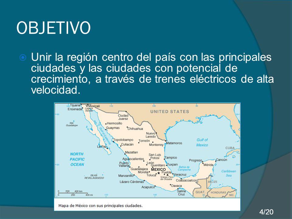 RECUPERACIÓN DEL CAPITAL INVERTIDO MEDIOCosto: [dólares] Distancia: [km] Costo por kilometro: [dólares] Tren TGV (Madrid- París) 961,1750.08 Autobús ADO (México- Cancún) 112.51,2990.09 Aerolínea Aeroméxico (México- Cancún) 229.51,2990.18 Por lo tanto para mantener la competitividad, proponemos un precio de 0.13 dólares/km 15/20