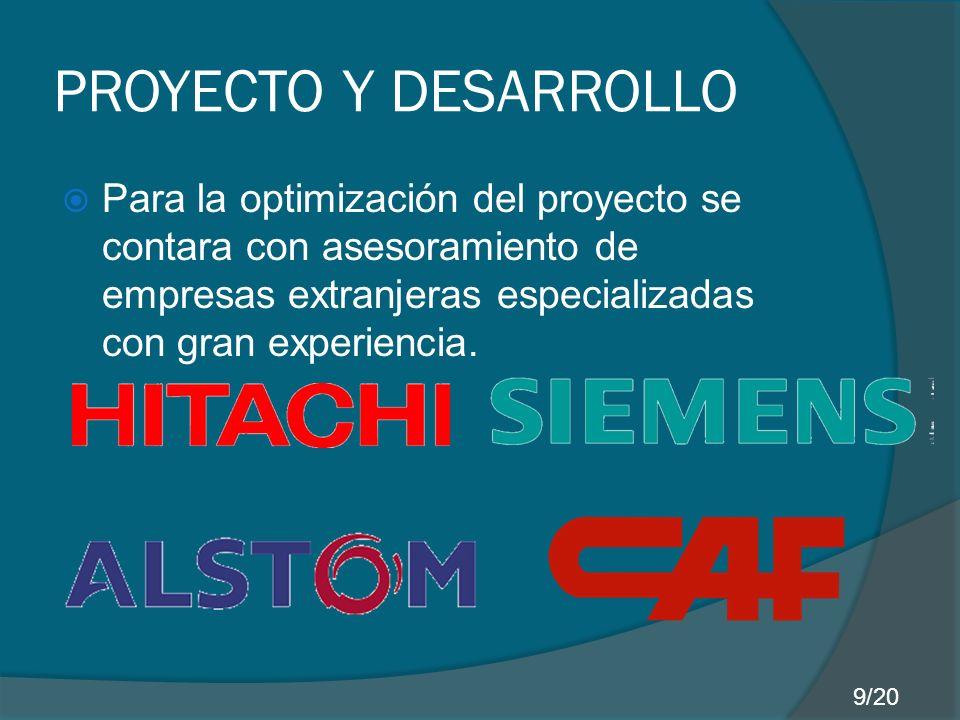 PROYECTO Y DESARROLLO Para la optimización del proyecto se contara con asesoramiento de empresas extranjeras especializadas con gran experiencia.