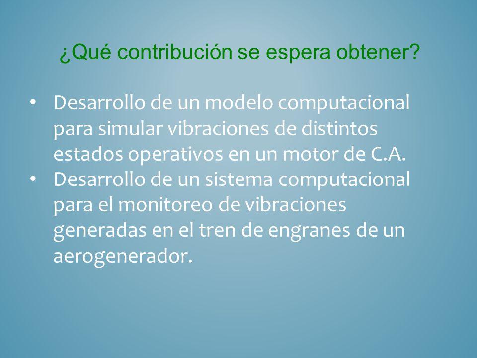 Objetivos del Trabajo: Objetivo General: Desarrollar un modelo computacional para simular vibraciones uniaxiales de estados operativos en motores de inducción y desarrollar un sistema de monitoreo en el tren de engranes de un aerogenerador.