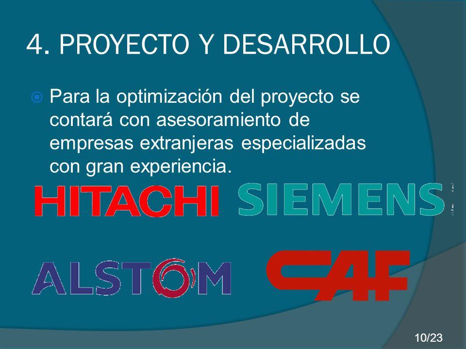 4. PROYECTO Y DESARROLLO Para la optimización del proyecto se contará con asesoramiento de empresas extranjeras especializadas con gran experiencia. 1