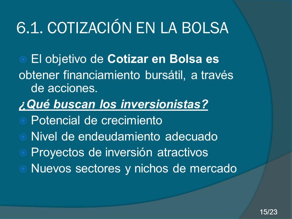 6.1. COTIZACIÓN EN LA BOLSA El objetivo de Cotizar en Bolsa es obtener financiamiento bursátil, a través de acciones. ¿Qué buscan los inversionistas?