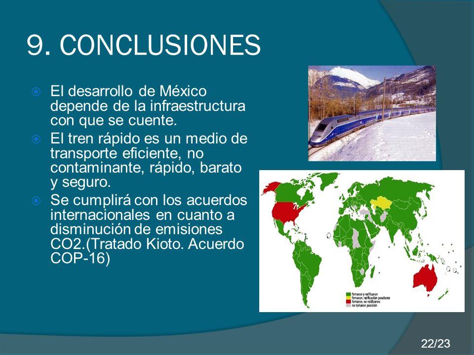 9. CONCLUSIONES El desarrollo de México depende de la infraestructura con que se cuente. El tren rápido es un medio de transporte eficiente, no contam