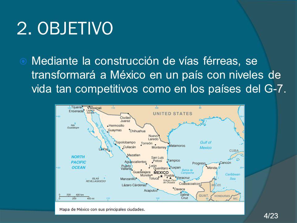 2. OBJETIVO Mediante la construcción de vías férreas, se transformará a México en un país con niveles de vida tan competitivos como en los países del