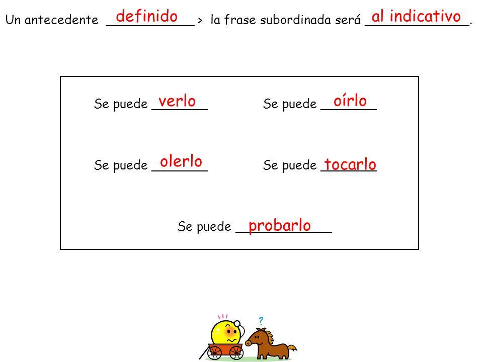 Un antecedente ___________ > la frase subordinada será _____________. Se puede _______Se puede _______ Se puede ____________ definidoal indicativo ver
