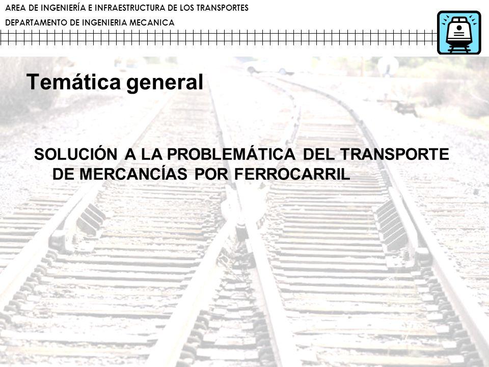 AREA DE INGENIERÍA E INFRAESTRUCTURA DE LOS TRANSPORTES DEPARTAMENTO DE INGENIERIA MECANICA Temática general SOLUCIÓN A LA PROBLEMÁTICA DEL TRANSPORTE