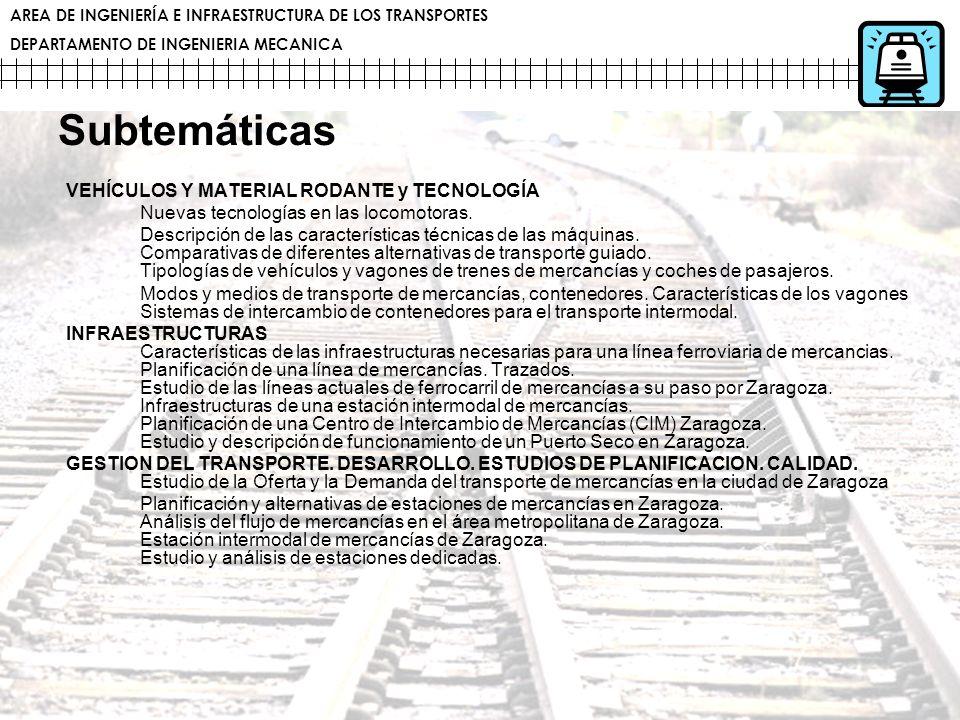 AREA DE INGENIERÍA E INFRAESTRUCTURA DE LOS TRANSPORTES DEPARTAMENTO DE INGENIERIA MECANICA Subtemáticas VEHÍCULOS Y MATERIAL RODANTE y TECNOLOGÍA Nue