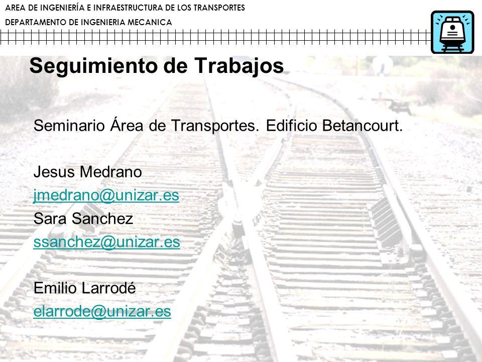 AREA DE INGENIERÍA E INFRAESTRUCTURA DE LOS TRANSPORTES DEPARTAMENTO DE INGENIERIA MECANICA Seguimiento de Trabajos Seminario Área de Transportes. Edi