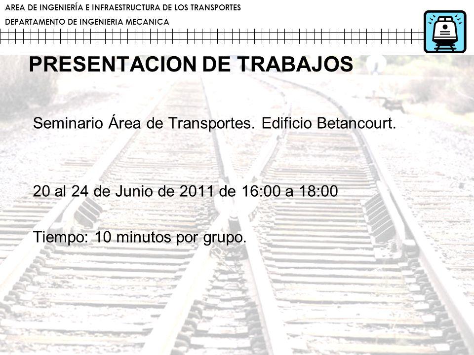 AREA DE INGENIERÍA E INFRAESTRUCTURA DE LOS TRANSPORTES DEPARTAMENTO DE INGENIERIA MECANICA PRESENTACION DE TRABAJOS Seminario Área de Transportes. Ed