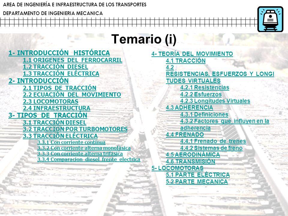 AREA DE INGENIERÍA E INFRAESTRUCTURA DE LOS TRANSPORTES DEPARTAMENTO DE INGENIERIA MECANICA Temario (i) 1- INTRODUCCIÓN HISTÓRICA 1.1 ORIGENES DEL FER