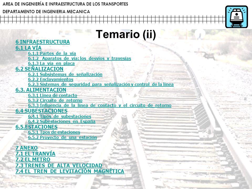 AREA DE INGENIERÍA E INFRAESTRUCTURA DE LOS TRANSPORTES DEPARTAMENTO DE INGENIERIA MECANICA Temario (ii) 6 INFRAESTRUCTURA 6.1 LA VÍA 6.1.1 Partes de
