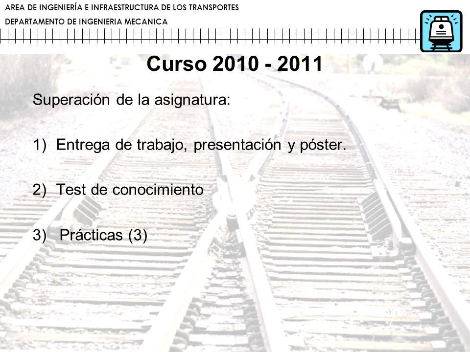 AREA DE INGENIERÍA E INFRAESTRUCTURA DE LOS TRANSPORTES DEPARTAMENTO DE INGENIERIA MECANICA Curso 2010 - 2011 Superación de la asignatura: 1)Entrega d