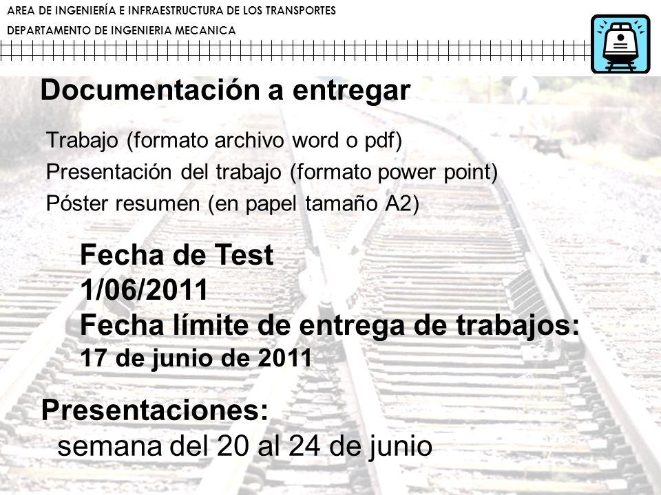 AREA DE INGENIERÍA E INFRAESTRUCTURA DE LOS TRANSPORTES DEPARTAMENTO DE INGENIERIA MECANICA Documentación a entregar Trabajo (formato archivo word o p