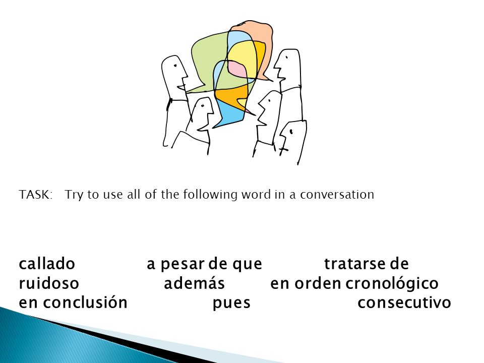 callado a pesar de que tratarse de ruidosoademás en orden cronológico en conclusiónpuesconsecutivo Use all of the words/phrases in a conversation TASK: Try to use all of the following word in a conversation