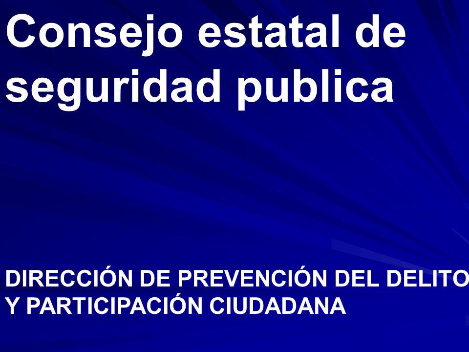 Consejo estatal de seguridad publica DIRECCIÓN DE PREVENCIÓN DEL DELITO Y PARTICIPACIÓN CIUDADANA