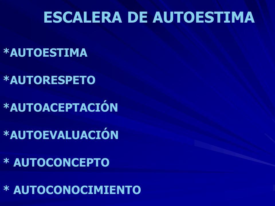 ESCALERA DE AUTOESTIMA *AUTOESTIMA *AUTORESPETO *AUTOACEPTACIÓN *AUTOEVALUACIÓN * AUTOCONCEPTO * AUTOCONOCIMIENTO