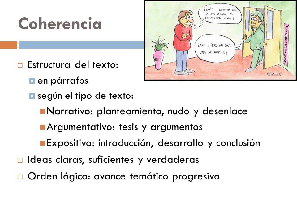 Coherencia Estructura del texto: en párrafos según el tipo de texto: Narrativo: planteamiento, nudo y desenlace Argumentativo: tesis y argumentos Expo