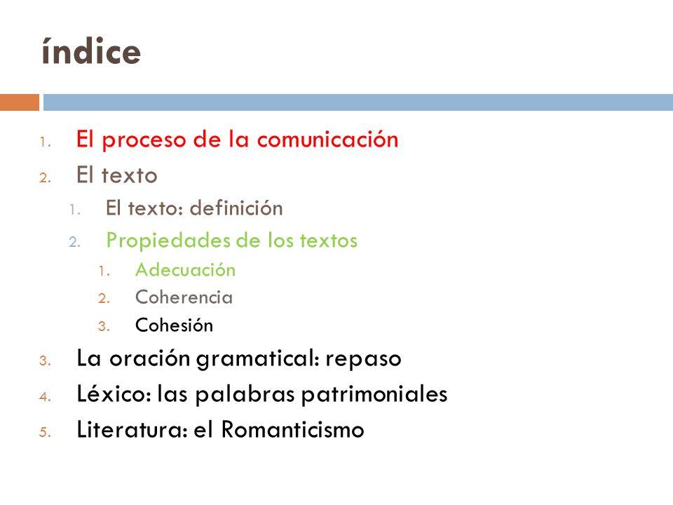 índice 1. El proceso de la comunicación 2. El texto 1. El texto: definición 2. Propiedades de los textos 1. Adecuación 2. Coherencia 3. Cohesión 3. La