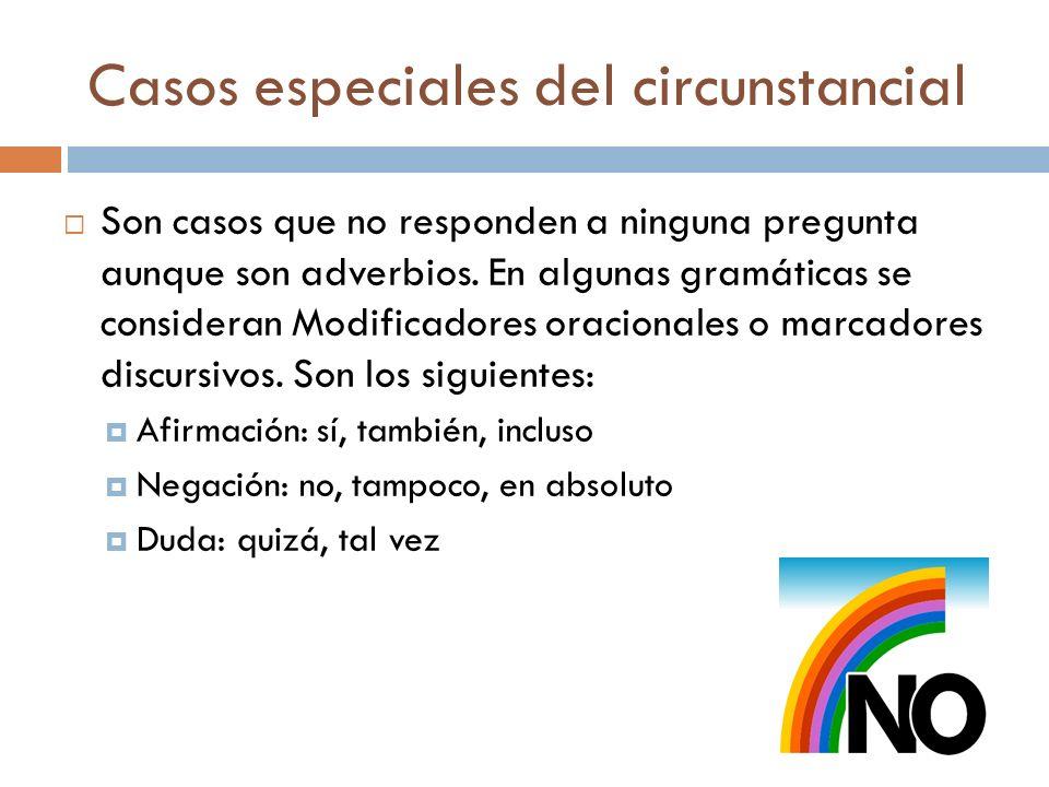 Casos especiales del circunstancial Son casos que no responden a ninguna pregunta aunque son adverbios. En algunas gramáticas se consideran Modificado