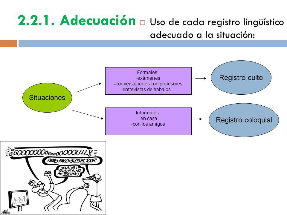 2.2.1. Adecuación Uso de cada registro lingüístico adecuado a la situación: Situaciones Registro culto Formales: -exámenes -conversaciones con profeso
