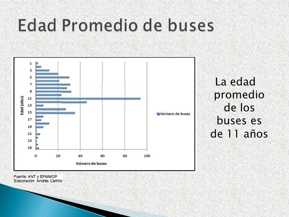 La edad promedio de los buses es de 11 años
