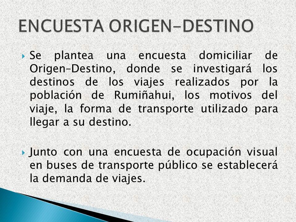 Se plantea una encuesta domiciliar de Origen–Destino, donde se investigará los destinos de los viajes realizados por la población de Rumiñahui, los mo